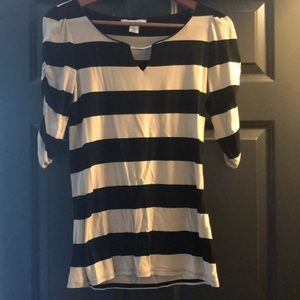 WHBM tan and black fitted shirt